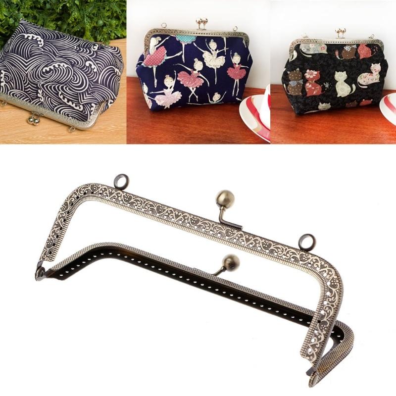THINKTHENDO 1Pc DIY Purse Handbag Handle Coins Bags Metal Kiss Clasp Lock Frame DIY 18cm