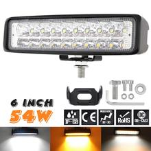 Ultra Bright 6 Inch 54W White + Yellow LED Work Light Bar Waterproof Fog Lamp for Driving Offroad Boat Car Tractor Truck 4x4 SUV
