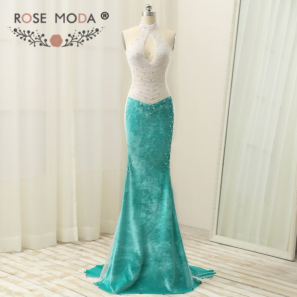 Rose Moda Sexy Halter Green Velvet Mermaid   Prom     Dress   Cut Out Back Crystal Beaded   Prom     Dresses   Xmas Party   Dress   2019