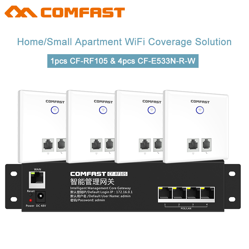 4pcs 300Mbps In wall AP Wireless access point 2*2dbi RJ45 Usb Wifi ap + 1 AC Wifi Router Gateway for Hotel Villa PUB Company