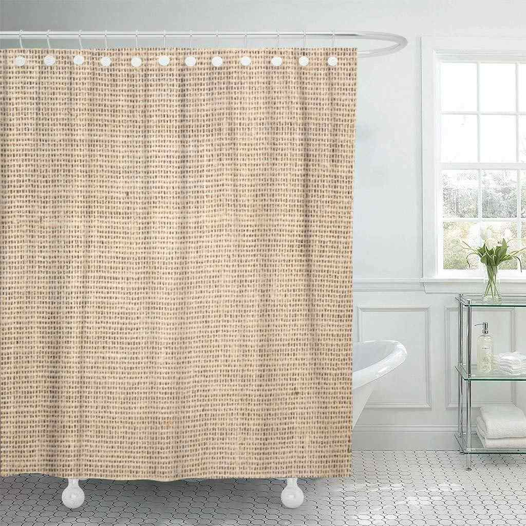 Fabric Shower Curtain with Hooks Abstract Burlap Aged Canvas Close Coarse Construction Drapery Eco Decorative Bathroom