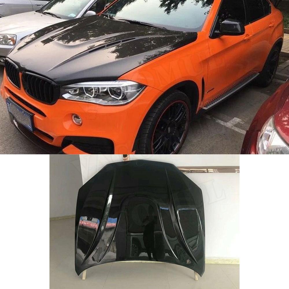 Carbon Fiber Front Engine Hood Vent Cover For BMW X5 X6 2007 2013 Car Bonnet Cap