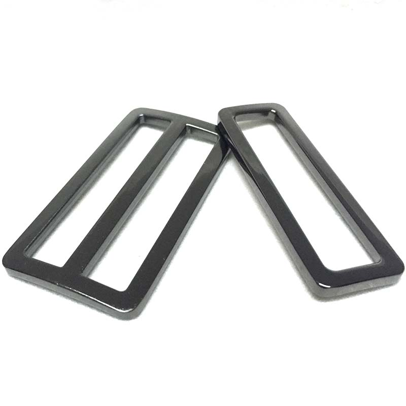 2 Inch Gunmetal Flat Metal Purse Slider And Loops 20PC Slide Buckle With 40PCS Rectangular Rings