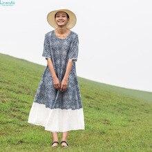 LinenAll women's summer blue print 100% linen dress robes, A-line O-neck half-sleeve loose long dress gown wuyou