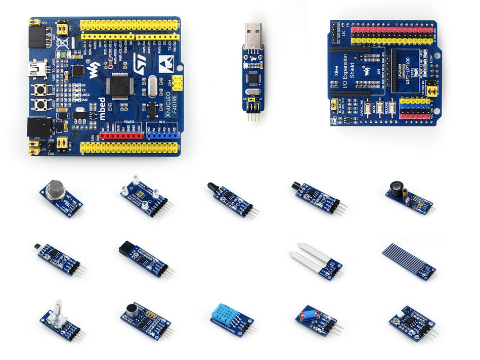 Xnucleo-f401re Cortex-m4 Stm32 Development Board Compatible With Nucleo-f401re+st-link/v2 (mini) +io Expansion+sensor Modules modules stm32 discovery board stm32f072b disco stm32f072 stm32f072b arm stm32 development board embedded st link v2