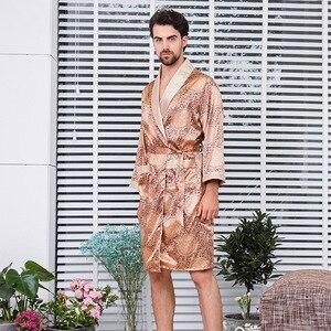 Image 5 - New Luxury Bathrobe Mens Print Plus Size Robe With Shorts 2 Pcs Silk Satin Pajamas Kimono Home Bath Gown Summer Male Nightgown