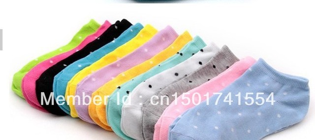 2013 hot sale women  cute DOT socks slippers boat socks candy color cotton free shipping