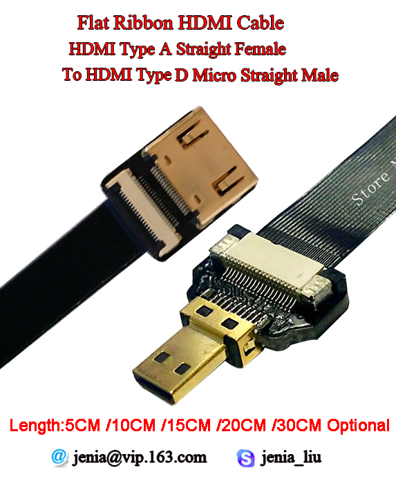 5CM/10CM/15CM/20CM/30CM Optional HDMI Standard TypeA Straight Female To Male HDMI TypeD Micro Straight Flat Ribbon Shield Cable