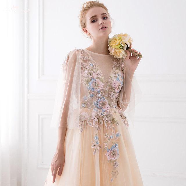 Online Shop LZF014 New Design 3D Flower Sequin Gown Pearl Champagne ...