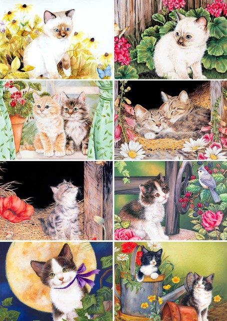 Painting Postcard 8 Pcs Set Birthday Greeting Cards