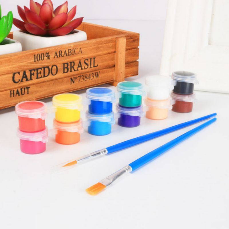 12 Colors Acrylic Paints Water Brush Paint Set For Clothing Textile Fabric Hand Painted Wall Plaster Painting Drawing For Kids