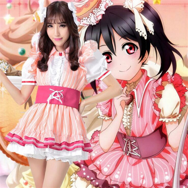 Hot Animation LoveLive Nico Yazawa Girls Lolita Pink Dakes Dress Cosplay Halloween Party Clothes Wigs Headdress Free Shipping