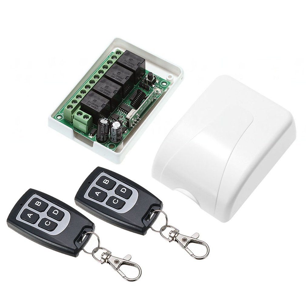Wireless 12V 4 Channels Module Learning Switch Receiver & 2pcs Waterproof 4-Button Remote Controller SetWireless 12V 4 Channels Module Learning Switch Receiver & 2pcs Waterproof 4-Button Remote Controller Set