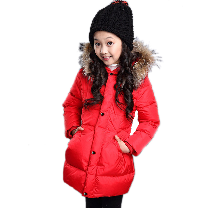 kids coats girls winter 2017 new solid hooded medium-long baby girl down jackets thicken warm winter clothes for girls 4-11T new winter baby girls clothes white duck down parka warm goose down jackets for kid warm long coats big fur hooded for children