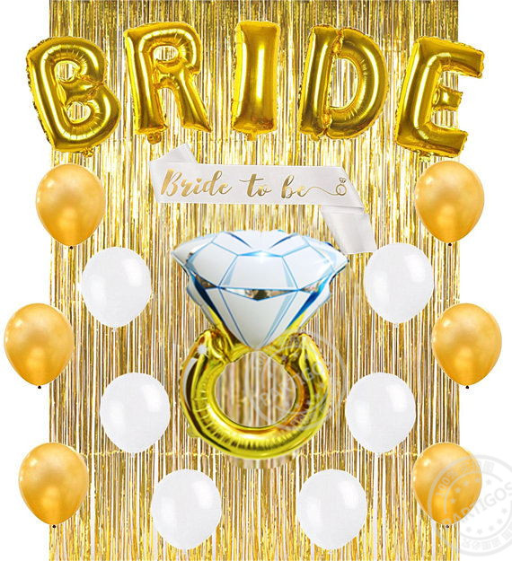 bachelorette party decor bridal shower kit bride foil balloon ring foil balloon metallic gold foil fringe curtains 12 in ballons accessories from home