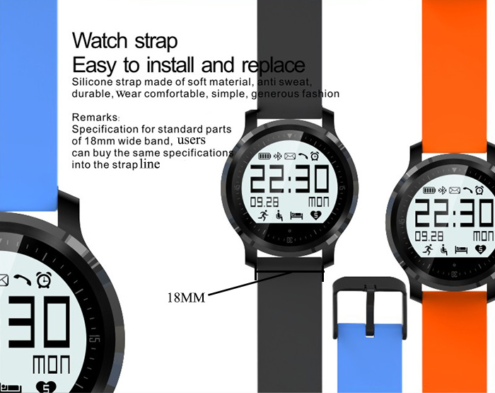F68 Bluetooth 4.0 Sport Smart Watch Heart Rate Track Wristwatch 1.5 Inch Touch Screen Waterproof IP67 Watch For IOS Android (1)