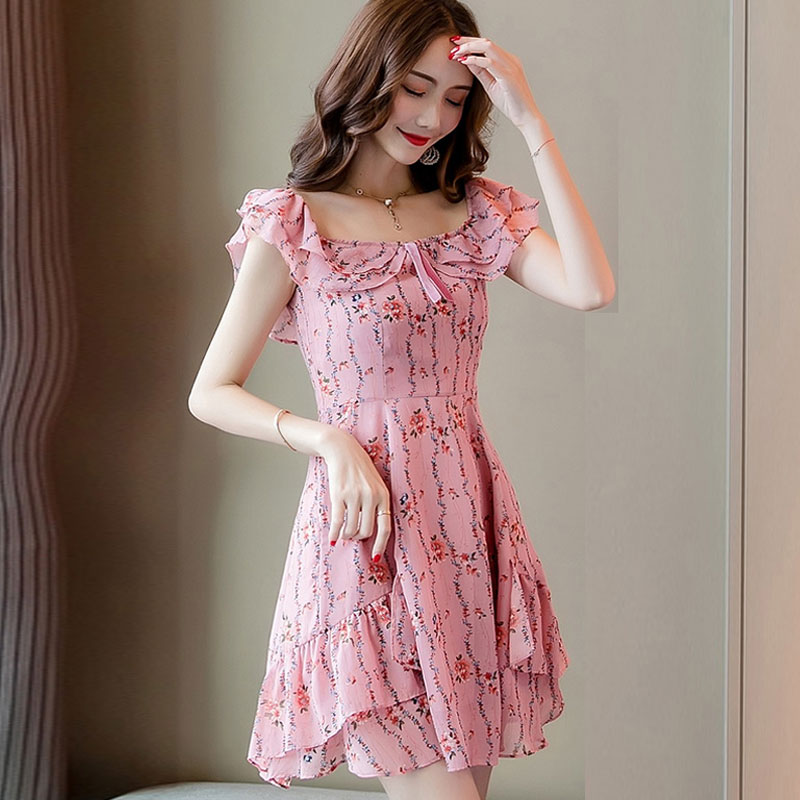 <font><b>Fashion</b></font> Pink <font><b>Elegant</b></font> Floral <font><b>Women</b></font> <font><b>Dresses</b></font> Party Dinner <font><b>Chiffon</b></font> Slim Ruffled <font><b>Sexy</b></font> Backless Off Shoulder <font><b>Dresses</b></font> Summer image