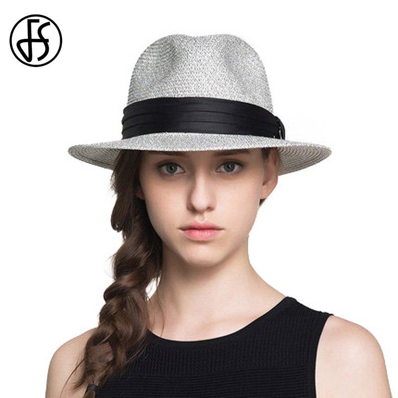 FS chapeaux de paille pour femmes ou hommes été Vintage à large bord Jazz Panama chapeau Chapeu Feminino pare-soleil chapeau de plage