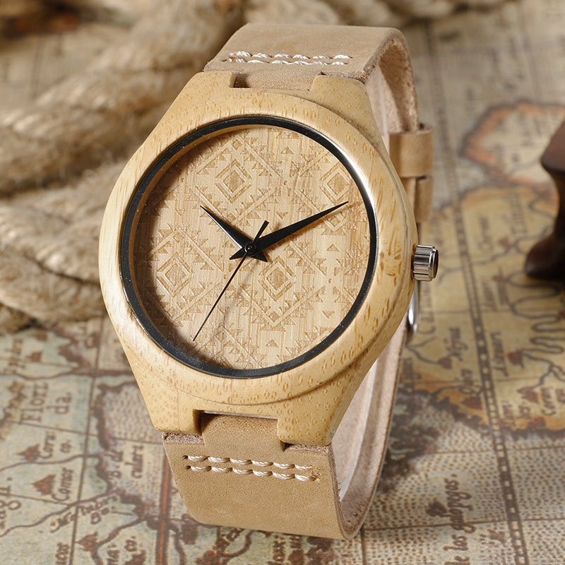 Retro Pattern Dial Design Hand-made Wood Watch Khaki Genuine Leather Watchband Light Natrue Bamboo Wristwatches Gift For Men simple fashion hand made wooden design wristwatch 2 colors rectangle dial genuine leather band casual men women watch best gift