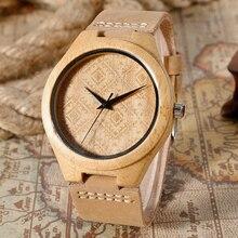 Ретро Шаблон Набора Дизайн ручной Дерево Часы Хаки Натуральная Кожа Ремешок Для Часов Света Natrue Бамбуковые Наручные Часы Подарок Для Мужчин