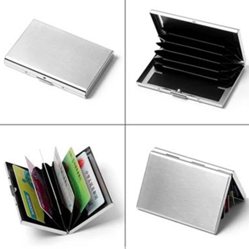 2018 New Business Aluminium Metal Card Holder Stainless Steel ID Credit Card Case Cover Women Card Holder Case Rfid wallet