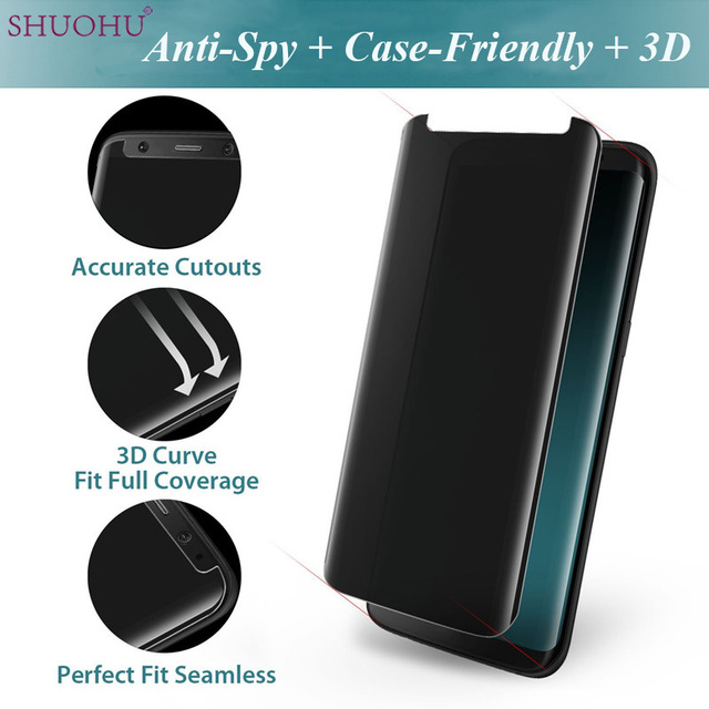 new styles d1787 1c7b8 US $7.13 |SHUOHU For Samsung Galaxy S8 S8 Plus Case friendly 3D Anti Spy  Privacy Tempered Glass Screen Protector S8plus Not Full Cover-in Phone  Screen ...