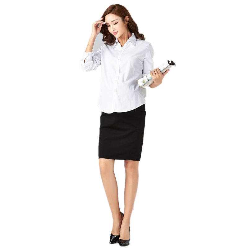 Pregnant women spring autumn long-sleeved shirt V-collar pregnant women working clothes professional shirts maternity clothings