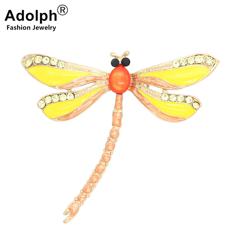ADOLPH Star Jewelry Dragonfly Animal Brooch Pins For Woman Clothers Dress Bride Crystal Broochs Fashion Accessories Female New