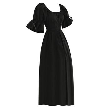 0e57058491f3c34 MUQGEW женское винтажное летнее платье миди мода короткий рукав-лепесток с  круглым вырезом средневековое платье