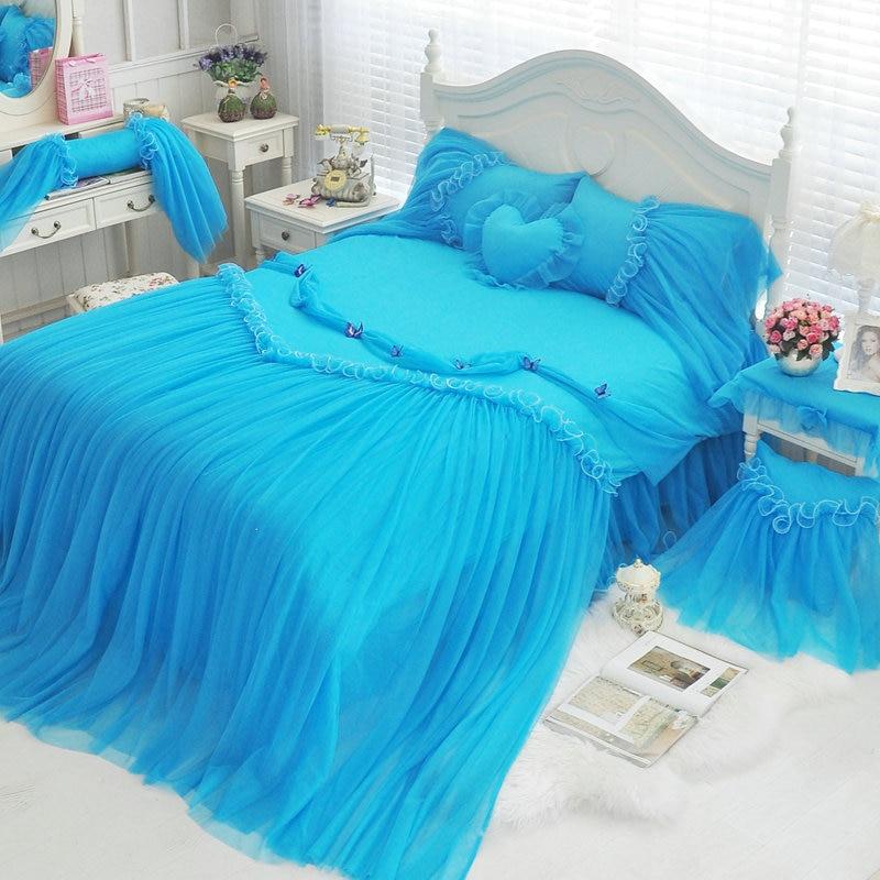Blue Lace Duvet Cover Princess Bedding Set Girls 4 6pcs