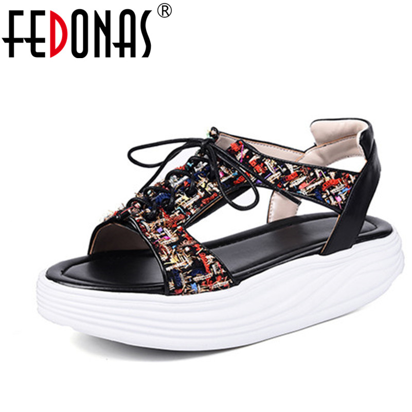 FEDONAS 2018 Women Sandals Genuine Leather Summer Flip Flops 2018 High Quality Flat Shoes Woman Bohemia Casual Platforms Shoes fedonas women sandals soft genuine leather summer shoes woman platforms wedges heels comfort casual sandals female shoes