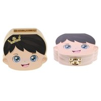 2pcs Baby Souvenir Boy Girl Wooden Milk Tooth Box Storage Container Organizer Teeth Box Case Gift for Baby Shower Birthday Party