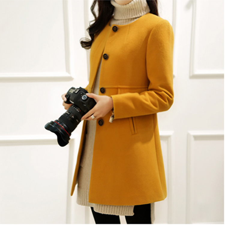 New 19 Spring Autumn Plus Size Wool Coat Women Loose A-aline Long Sleeved O-neck Medium Long Black Yellow Korean Coat Casacos 6
