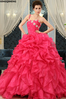 Sequined Beaded Quinceanera Dresses Rose Red Lace Up Elegant vestidos de 15 anos Tiered Ruffles Sweet 16 Dresses Ball Gown