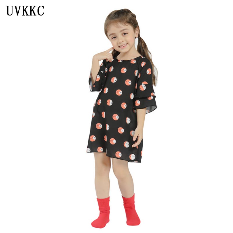 2018 New Hot Summer Flower dress black Floral Dress kids Clothing Baby girls casual dresses for 3-7T Bebe Roupas Girl Clothes