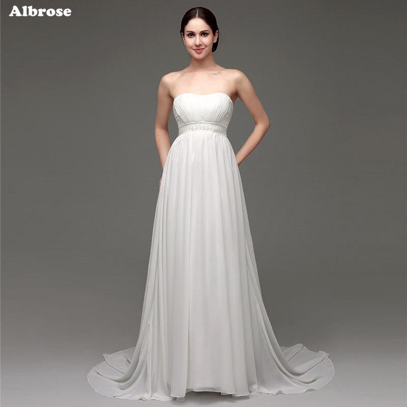 Sexy Strapless Wedding Dress For Pregnant Women Beaded Wedding