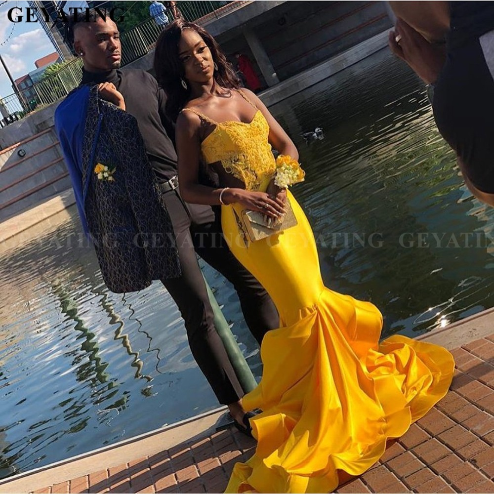 Sexy Black Girls Mermaid Yellow Prom Dresses 2019 Long Elegant Plus Size African Formal Gowns Backless Graduation Party Dress