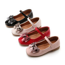 Spring Autumn New Baby Girl Princess Shoes Kids leather shoes baby Dance Party bowknot Black Red Pink Beige 3-15T