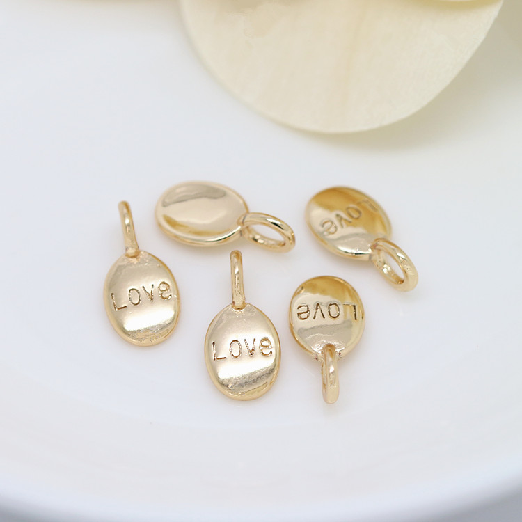 10PCS 6x12MM 24K Champagne Gold Color Plated Brass Oval Love Charms Pendants High Quality Diy Jewelry Accessories