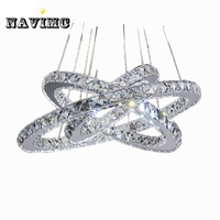 3 Rings Crystal LED Chandelier Light Fixture Crystal Light Lustre Hanging Suspension Light For Dining Room