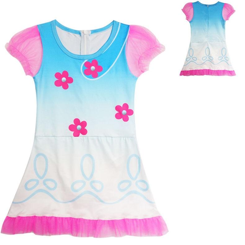 Girl Kids Trolls Poppy Dress Cosplay Costume Magic Children Swimming Suit Sandy Beach Swimwear Bathing Cap Hat