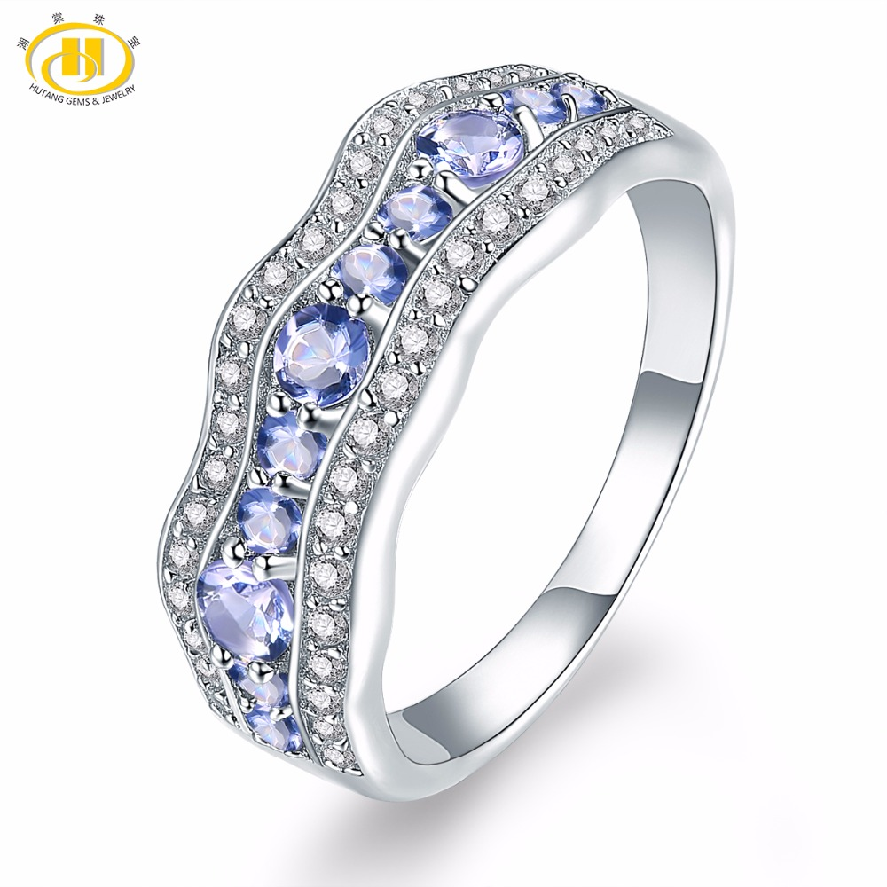 Hutang Gemstone Jewelry Natural Tanzanite Solid 925 Sterling Silver Ring Engagement Fine Jewelry For women Birthday Gift стиральная машина узкая lg f12u1hbs4