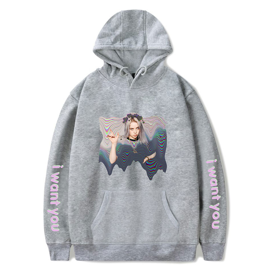 Hot Sale Billie Eilish Hoodies Women Men New Print Harajuku Hoody Popular Pullovers Billie Eilish Hoodie Women's Gray Sweatshirt