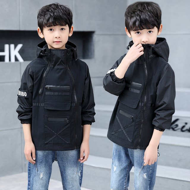 Верхняя одежда для детей, пальто-тренчи для подростков, пальто и куртки для мальчиков, ветрозащитная Детская куртка с капюшоном и буквенным принтом для мальчиков, ветровка