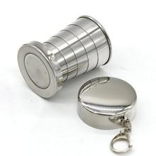 75ML de acero inoxidable taza plegable de acero inoxidable vaso retráctil taza plegable taza de veintiuno tazas de té taza de vidrio plegable