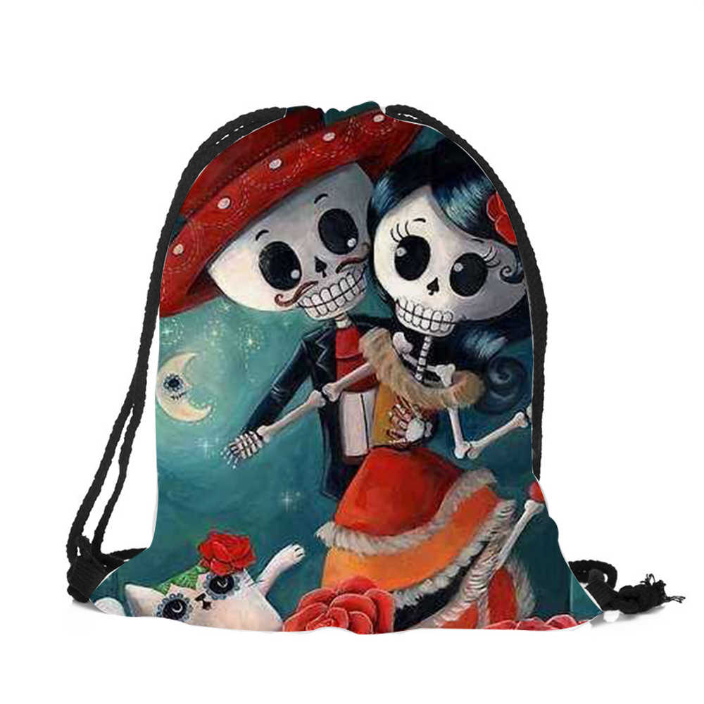 ... 2018 New Sugar Skull Drawstring Bags 3D Printed Drawstring Backpack For  Women Men Halloween Bags Wholse ...