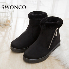 SWONCO Winter Boots Women Classic Suede Shoes Snow Plush Ladies 2019 Stylish Female Flat Bottom Non-Slip Boot Turn-Over