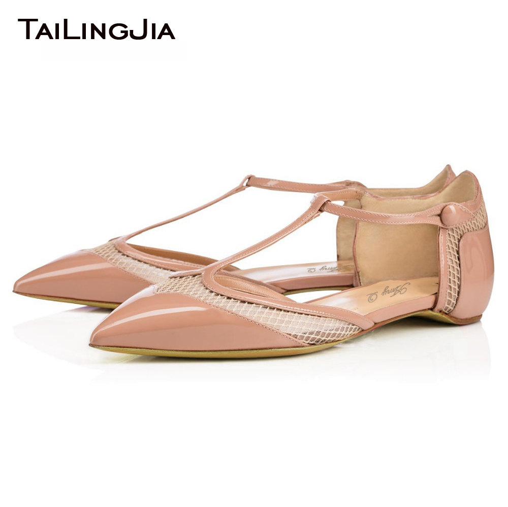 ФОТО Flat Shoes Women Sandals T Strap Pointed Toe 2017 New Fashion Confortable Shoes Candy Colors Patent Leather Free Shipping