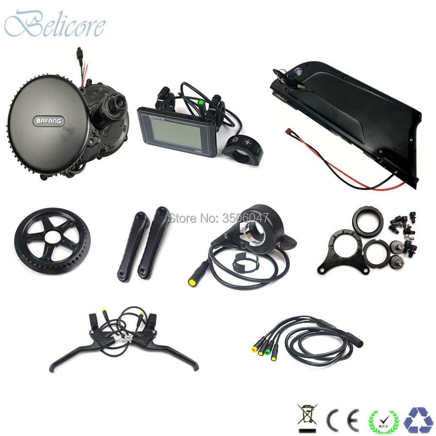 bafang/8fun bbs02 48v 500 watt electric bike mid drive motor kits 48v 500w+48v 13ah down tube electric bike battery+2A charger