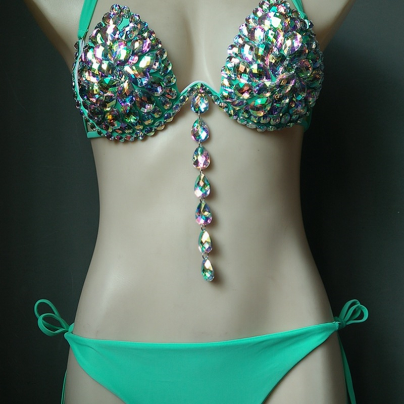 Cristal bikini push up strass paillettes maillot de bain femmes 2019 diamant gemmes maillots de bain brésilien bikinis femmes plage maillot de bain